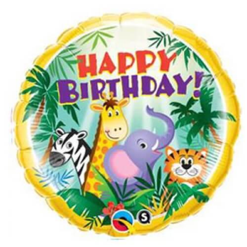 Palloncino giungla compleanno scritta Happy BDay 45 cm 1 pezzo