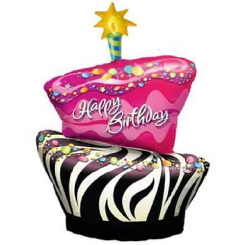 Palloncino torta compleanno zebrato scritta Happy BDay UltraShape 1 pezzo