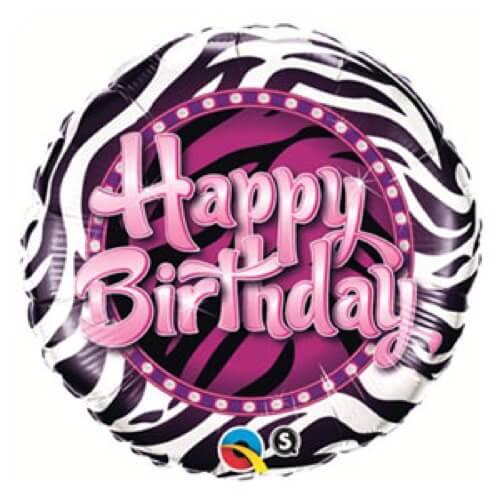 Palloncino compleanno zebra scritta Happy BDay 45 cm 1 pezzo