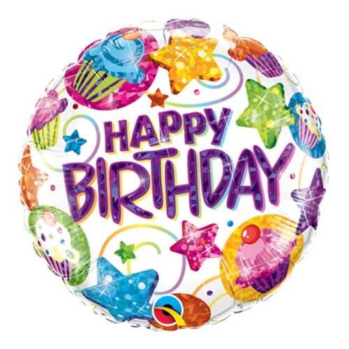Palloncino cupcake e stelle compleanno scritta Happy BDay 45 cm 1 pezzo