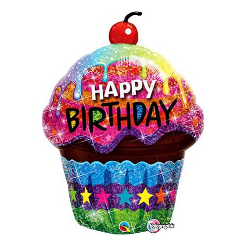 Palloncino cupcake brillante compleanno scritta Happy BDay UltraShape 1 pezzo