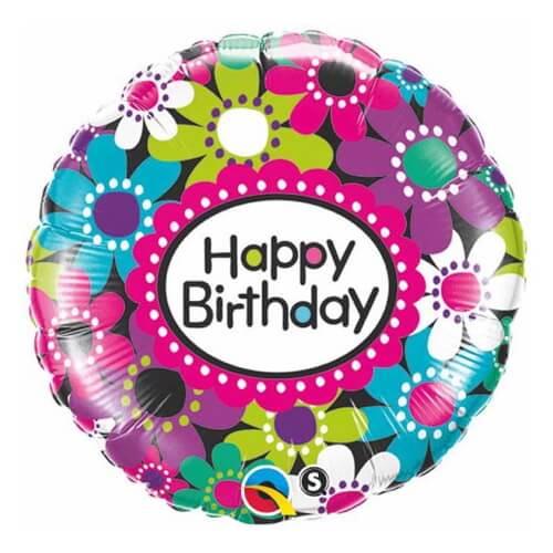 Palloncino margherite compleanno scritta Happy BDay 45 cm 1 pezzo