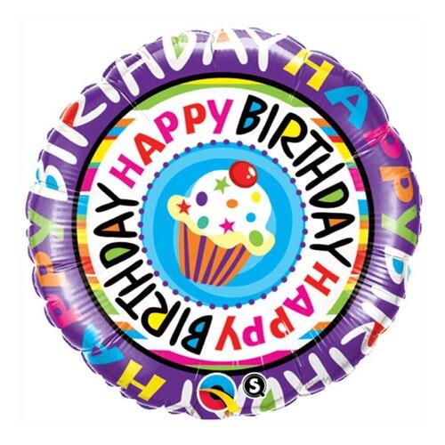 Palloncino cupcake singolo compleanno scritta Happy BDay 45 cm 1 pezzo