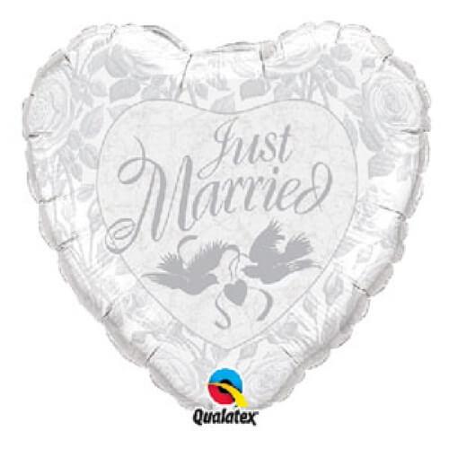 Palloncino cuore argento matrimonio scritta Just Married UltraShape 1 pezzo