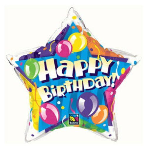 Palloncino stella balloons compleanno scritta Happy BDay 51 cm 1 pezzo