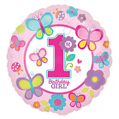 Palloncino primo compleanno bambina scritta Bday Girl 45 cm 1 pezzo