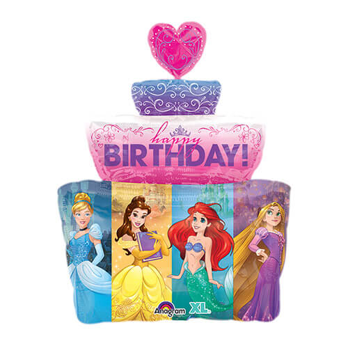 Palloncino Principesse Disney torta scritta Happy Bday SuperShape 1 pezzo