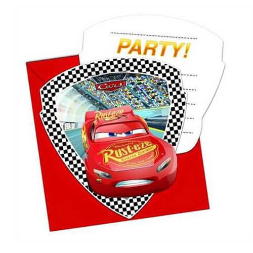 Inviti festa Cars Disney con buste 6 pezzi