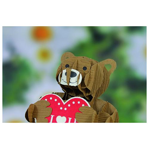 Biglietto orsetto del cuore origami 1 pezzo