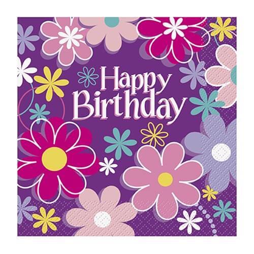 Tovaglioli giardino con scritta happy birthday 16 pezzi