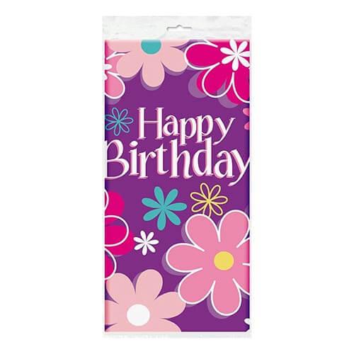 Tovaglia giardino con scritta happy birthday 1 pezzo
