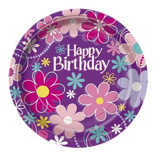 Piatti giardino grandi con scritta happy birthday 8 pezzi