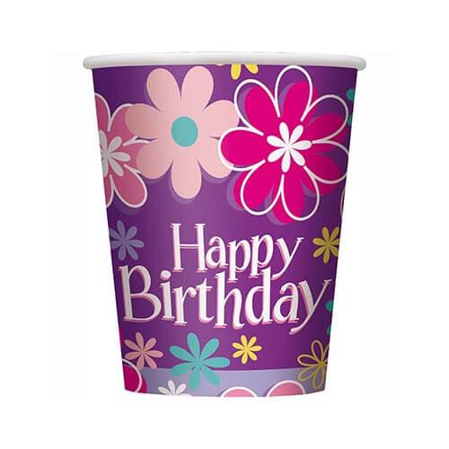 Bicchieri giardino con scritta happy birthday 8 pezzi