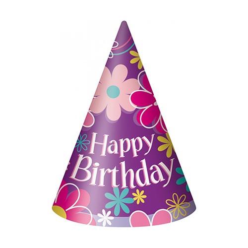 Cappellini giardino con scritta happy birthday 8 pezzi