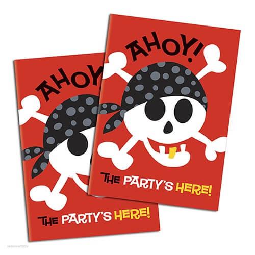 Inviti festa pirati con buste 8 pezzi