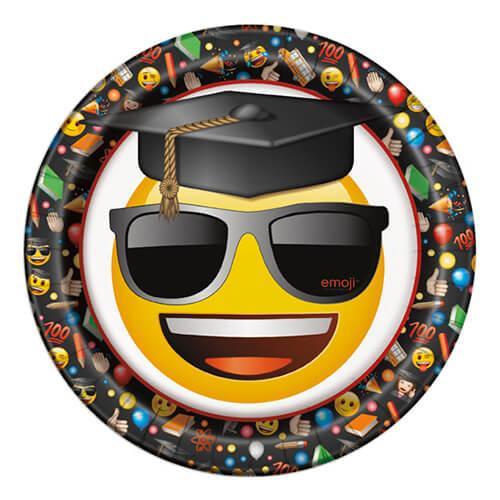 Piatti Emoji diploma e laurea grandi 8 pezzi
