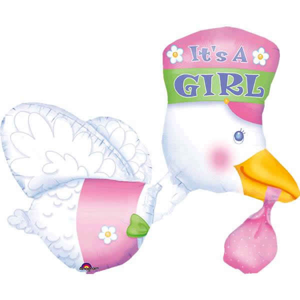 Palloncino cicogna It's a Girl Multi-Balloon 1 pezzo