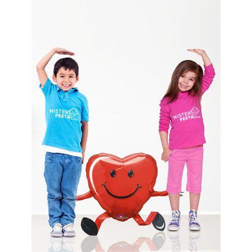Palloncino cuore rosso mascotte AirWalkers 1 pezzo