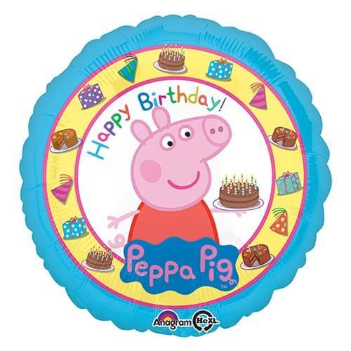 Palloncino Peppa Pig con scritta Happy Birthday 45 cm 1 pezzo