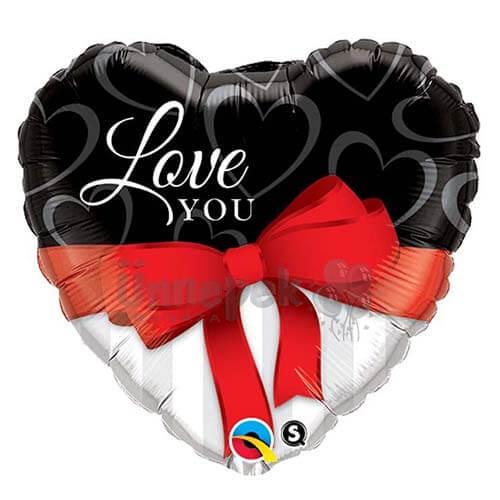 Palloncino cuore con nastro scritta Love You 45 cm 1 pezzo