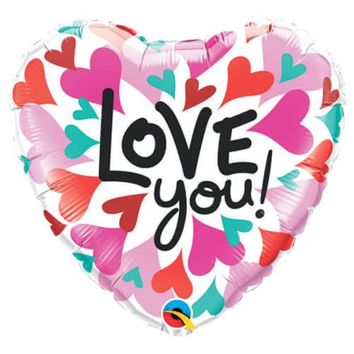 Palloncino cuore pop scritta Love You 45 cm 1 pezzo