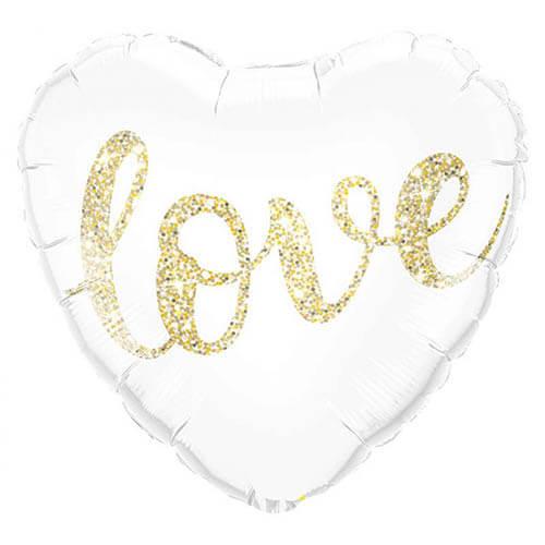 Palloncino cuore glitter oro scritta Love 45 cm 1 pezzo