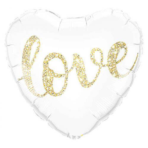 Palloncino cuore love glitter oro 45 cm 1 pezzo