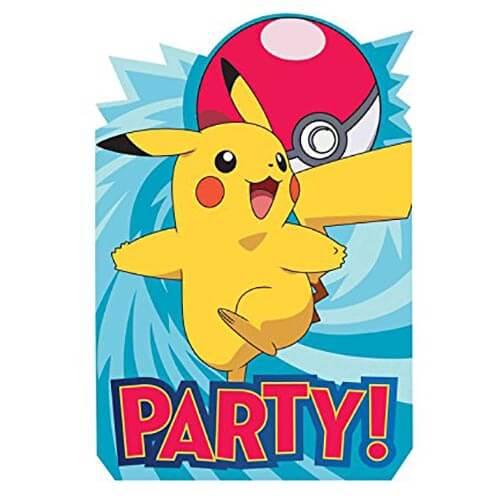 Inviti festa Pokémon con buste 8 pezzi