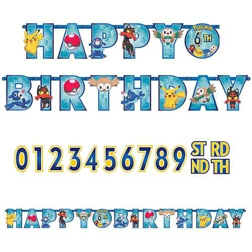 Festone Pokémon Happy Birthday anni personalizzabili 1 pezzo