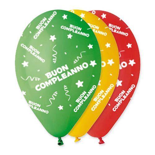 Palloncini colori assortiti scritta Buon Compleanno lattice 30 cm 20 pezzi