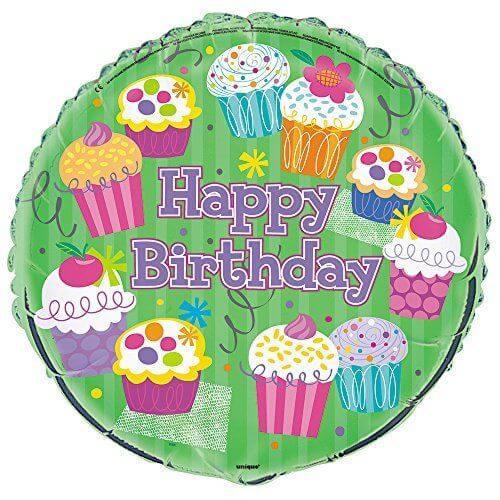 Palloncino cupcake scritta Happy BDay 45 cm 1 pezzo
