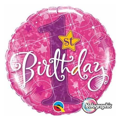 Palloncino primo compleanno bambina scritta 1st Bday 45 cm 1 pezzo