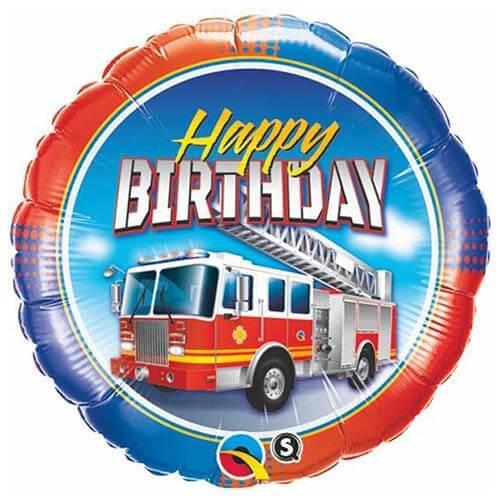 Palloncino camion dei pompieri scritta Happy BDay 45 cm 1 pezzo