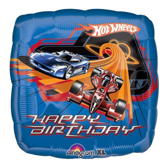 Palloncino Hot Wheels compleanno scritta happy BDay 45 cm 1 pezzo