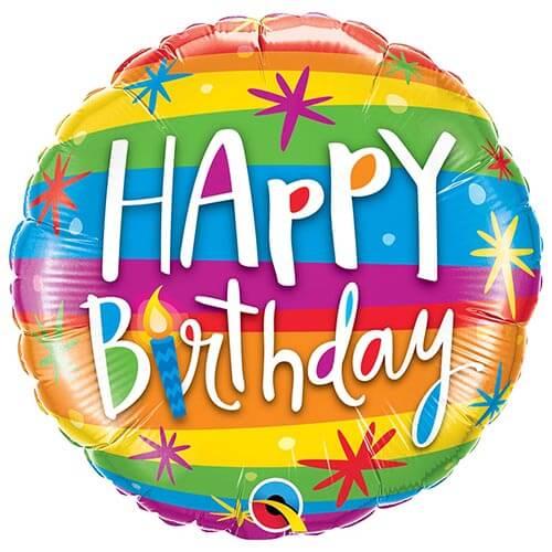 Palloncino arcobaleno compleanno scritta Happy BDay 45 cm 1 pezzo
