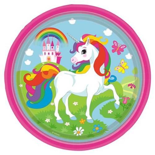 Piatti Unicorno Arcobaleno grandi 8 pezzi