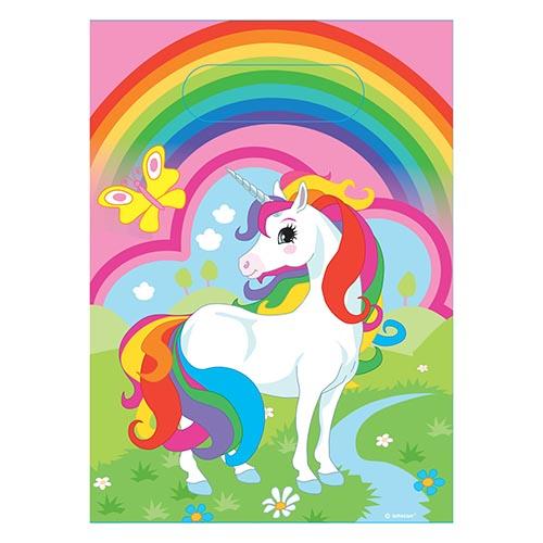 Bustine Unicorno Arcobaleno per regali fine festa 8 pezzi