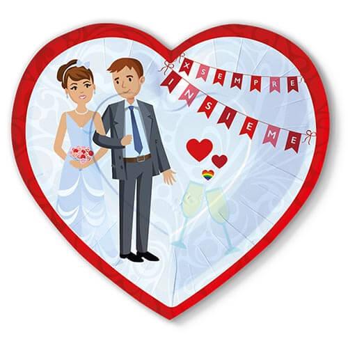 Piatti matrimonio in rosso con scritta per sempre insieme 6 pezzi