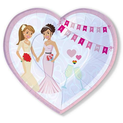 Piatti matrimonio unione civile in rosa con scritta per sempre insieme 6 pezzi