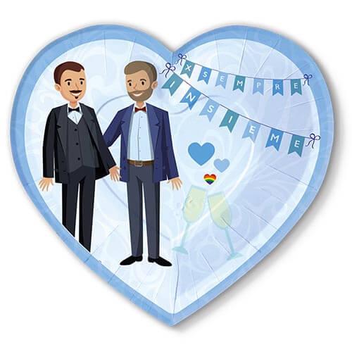 Piatti matrimonio unione civile in blu con scritta per sempre insieme 6 pezzi
