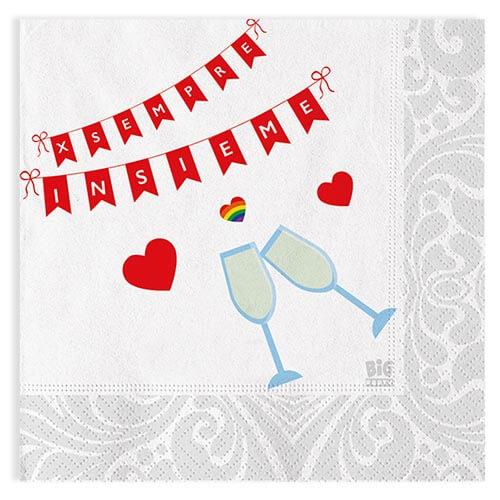 Tovaglioli matrimonio unione civile con scritta per sempre insieme 20 pezzi
