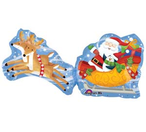 Palloncino slitta Babbo Natale SuperShape 1 pezzo