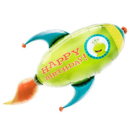 Palloncino alieno navicella spaziale scritta Happy BDay UltraShape 1 pezzo