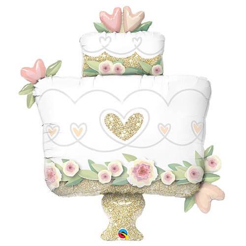 Palloncino torta nuziale o unione civile fiori e glitter oro UltraShape 1 pezzo