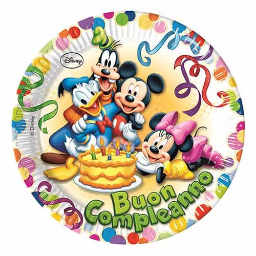 Piatti Topolino e amici Disney scritta Buon Compleanno 8 pezzi