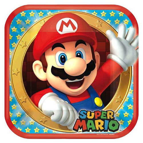 Piatti Super Mario Bros grandi 8 pezzi