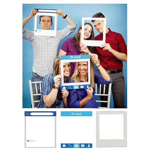 Set photo booth social frame per selfie e foto 3 pezzi