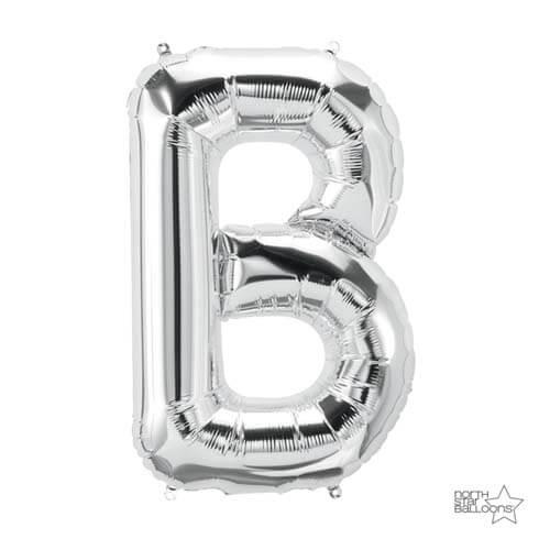 Palloncino lettera B argento LetterShape 1 pezzo