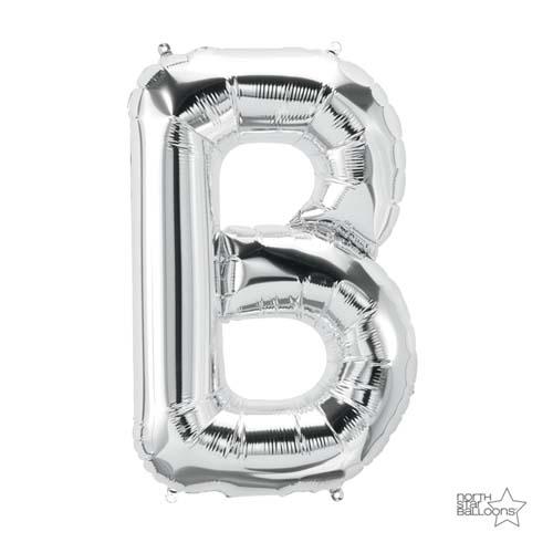 Palloncino lettera B argento UltraShape 1 pezzo