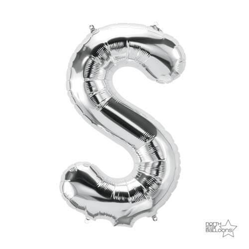 Palloncino lettera S argento LetterShape 1 pezzo